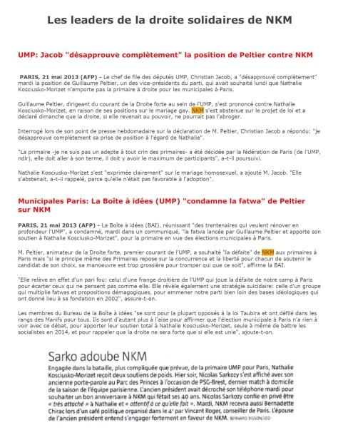 les leaders de la droite solidaires de NKM