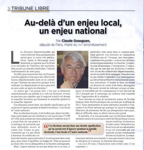 Bulletin des Elus Locaux n°305 - article Claude Goasguen