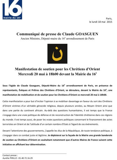 CP de Claude Goasguen invitant à une manifestation de soutien aux chrétiens d'Orient le mercredi 20 mai 2015 à 18h devant la Mairie du 16e