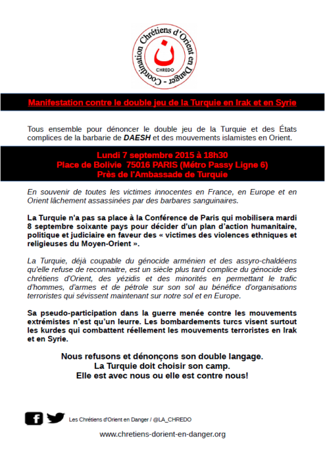Manifestation contre le double jeu de la Turquie - 7 septembre 2015 -  Place de Bolivie 16e