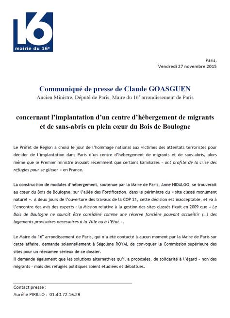 CP concernant l'implantation d'un centre d'hébergement de migrants et de sans-abris en plein coeur du Bois de Boulogne