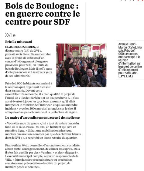 Bois de Boulogne en guerre contre le centre pour SDF