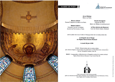 Inauguration Notre Dame d'Auteuil